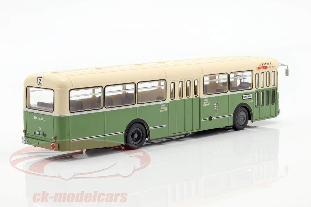 Brossel BL55 Valenciennes bus France year 1966 1:43 olive green / cream Altaya