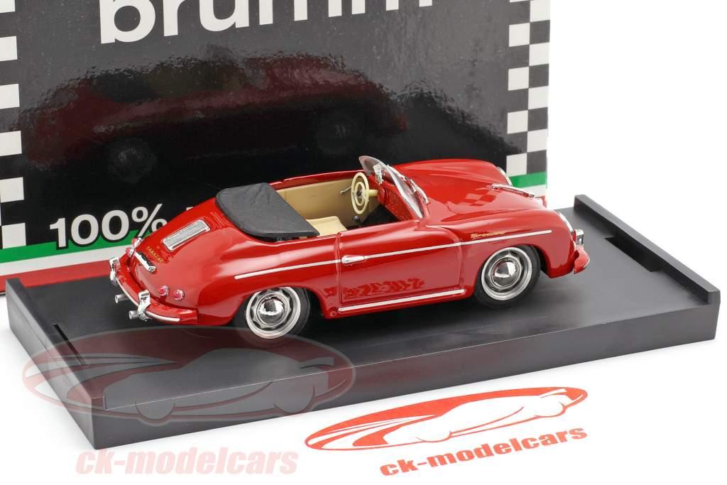 Porsche 356 Speedster Bouwjaar 1952 rood met beige binnenland 1:43 Brumm