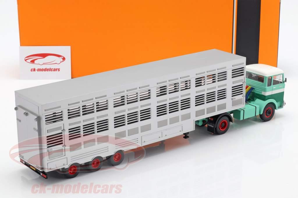Mercedes-Benz LPS 1632 cattle trailer verde / branco 1:43 Ixo