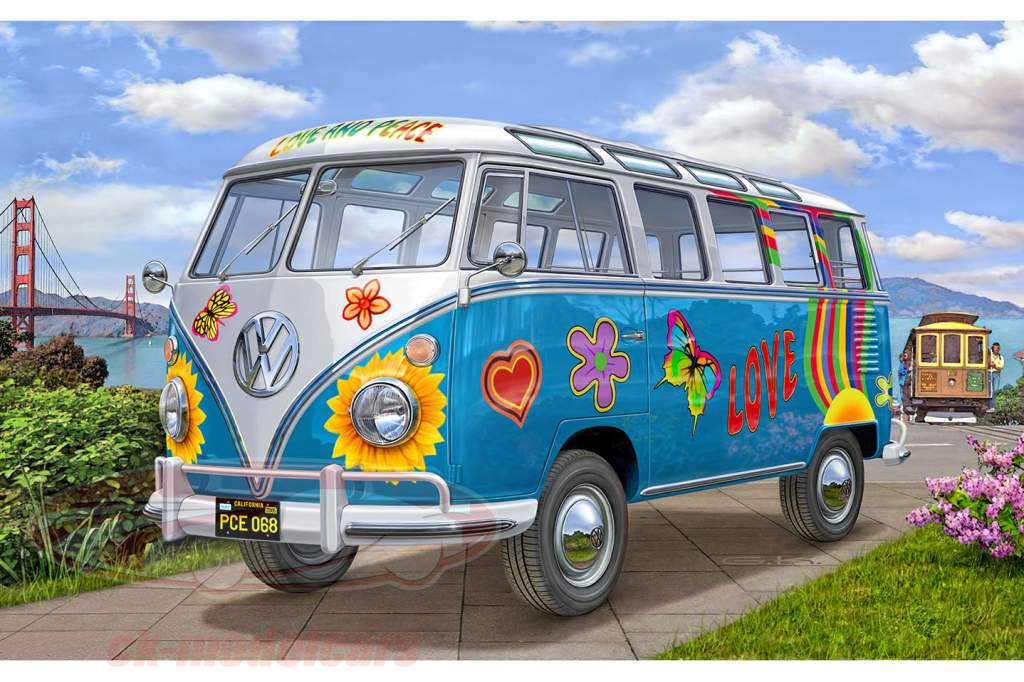 Volkswagen VW T1 Samba Bus Flower Power trousse 1:24 Revell