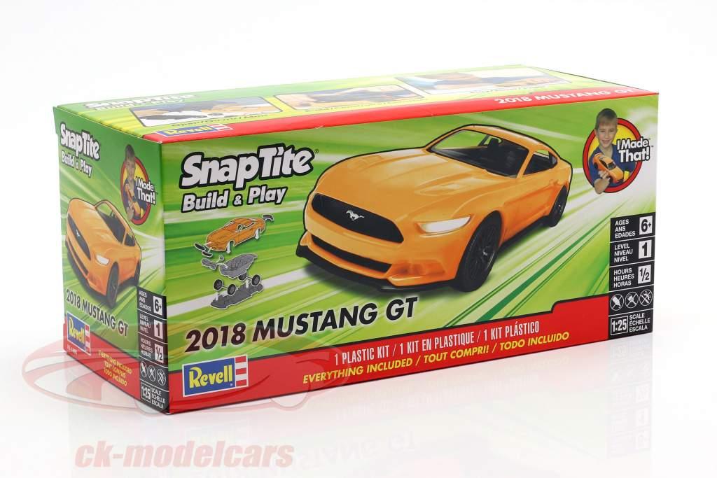 Ford Mustang GT Bouwjaar 2018 uitrusting oranje 1:25 Revell