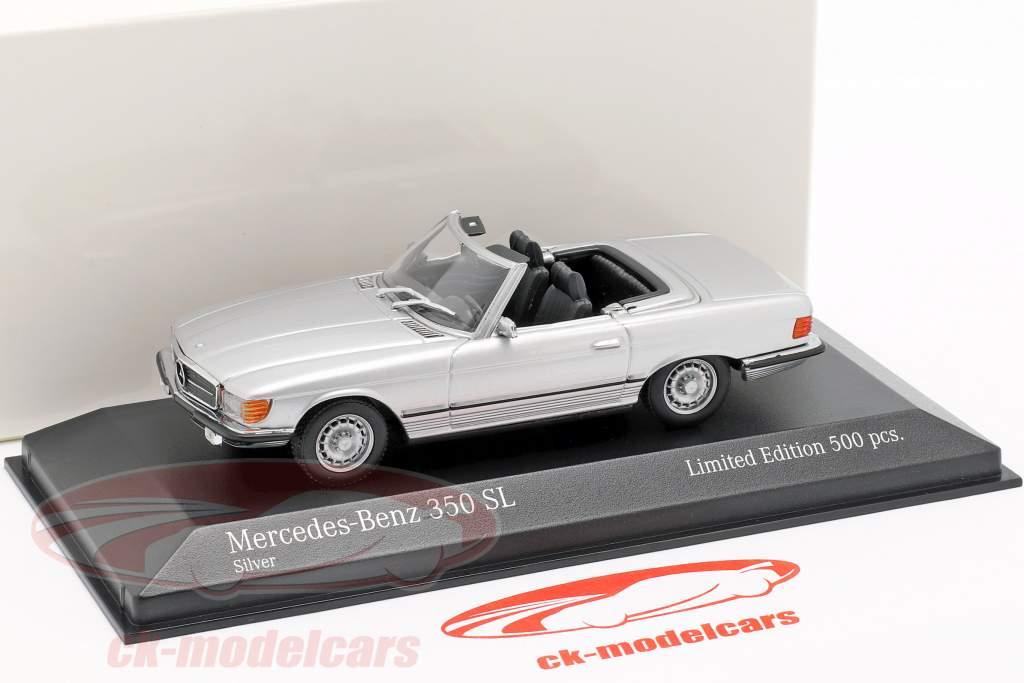 Mercedes-Benz 350 SL année de construction 1974 argent métallique 1:43 Minichamps