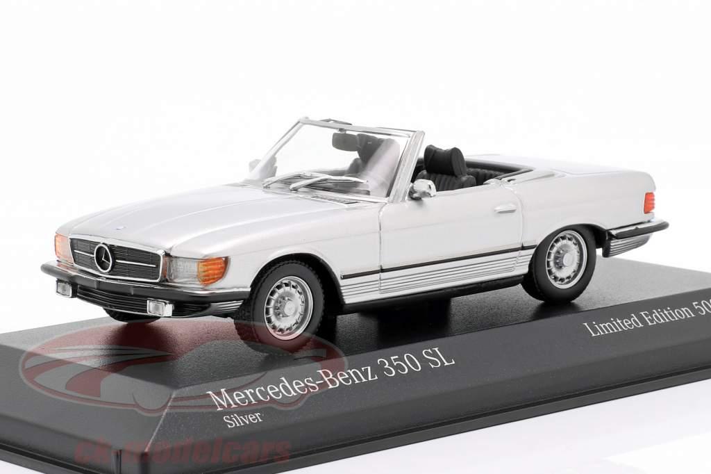Mercedes-Benz 350 SL Opførselsår 1974 sølv metallisk 1:43 Minichamps