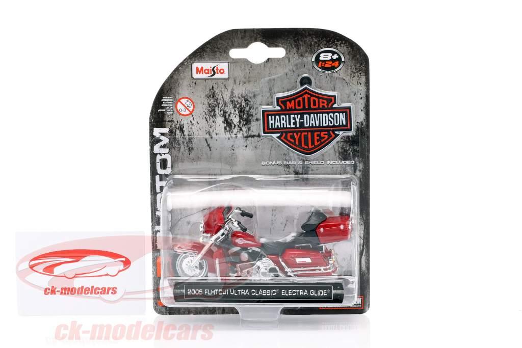Harley Davidson Ultra Classic Electra Glide année de construction 2005 rouge 1:24 Maisto