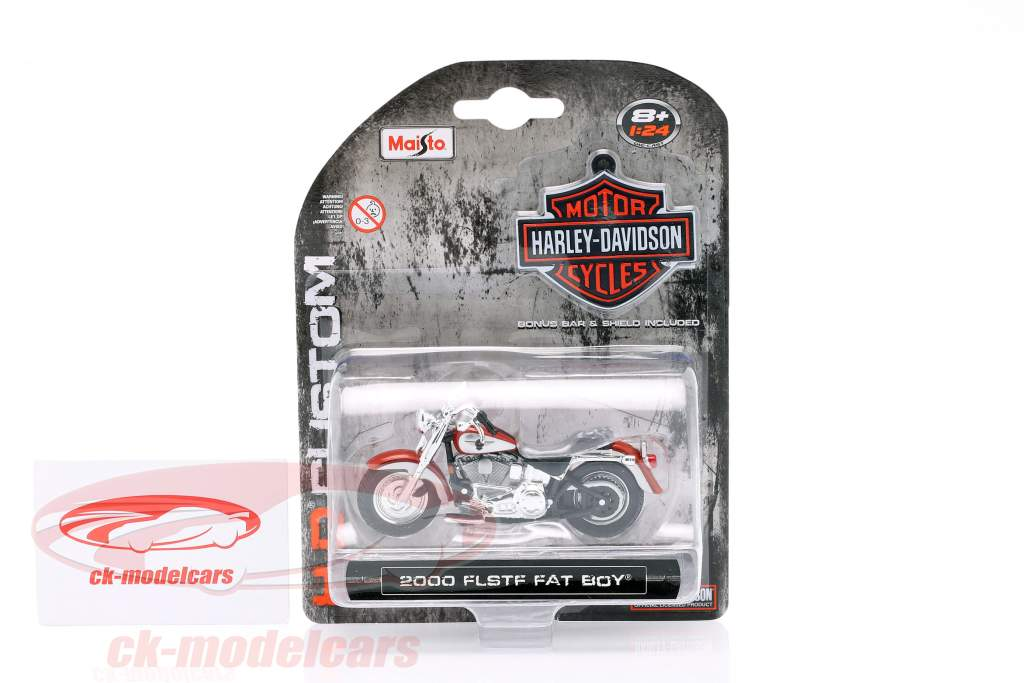 Harley Davidson FLSTF Fat Boy Opførselsår 2000 sølv / bronze 1:24 Maisto