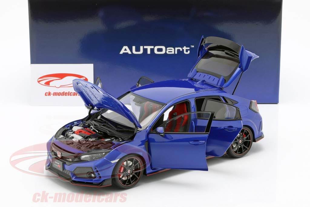 Honda Civic Type R (FK8) Bouwjaar 2017 blauw metalen 1:18 AUTOart