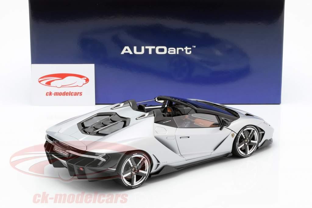 Lamborghini Centenario Roadster ano de construção 2016 prata 1:18 AUTOart