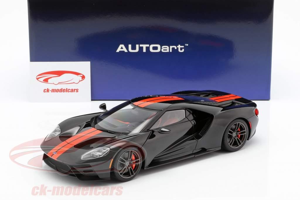 Ford GT ano de construção 2017 preto / laranja 1:18 AUTOart