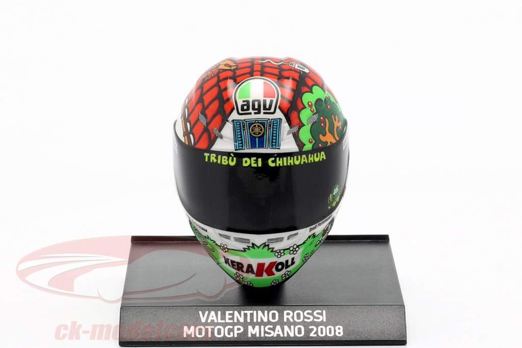 Valentino Rossi wereldkampioen MotoGP Misano 2008 AGV helm 1:10 Minichamps