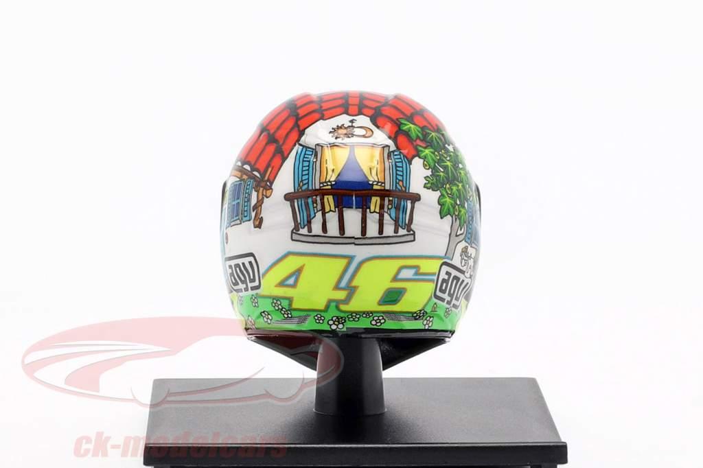 Valentino Rossi verdensmester MotoGP Misano 2008 AGV hjelm 1:10 Minichamps