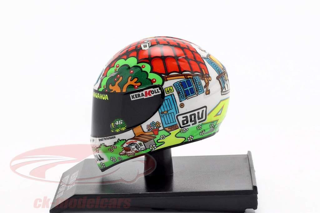 Valentino Rossi campeón del mundo MotoGP Misano 2008 AGV casco 1:10 Minichamps