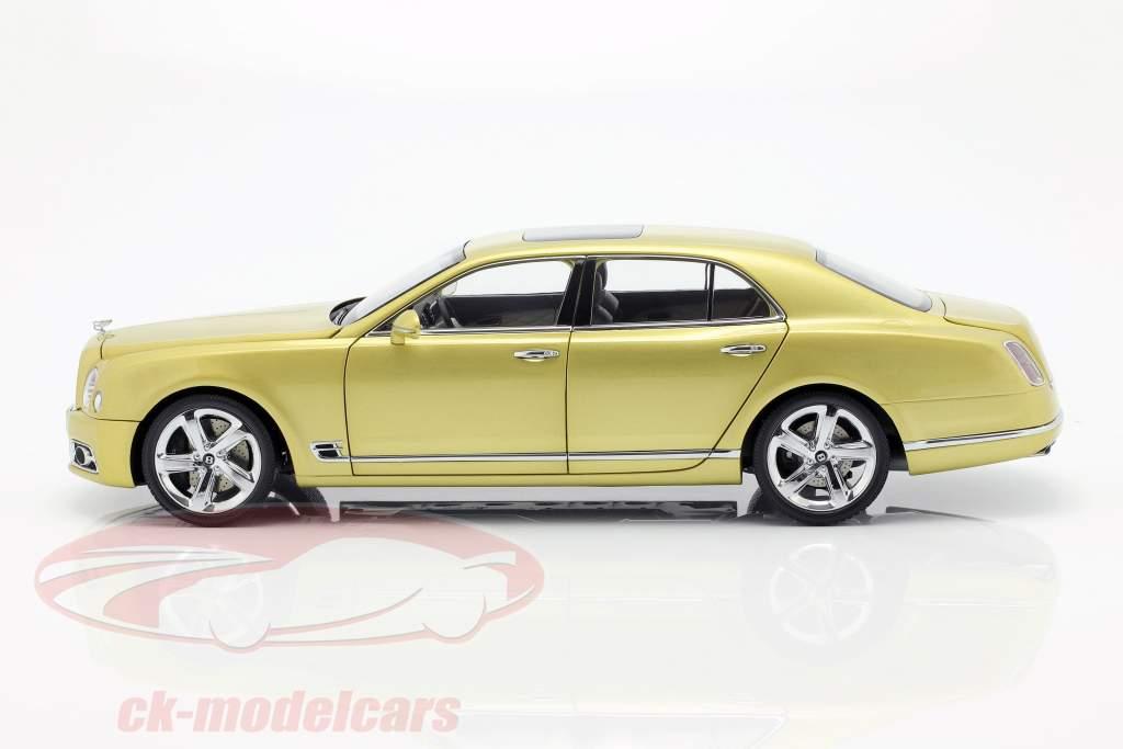 Bentley Mulsanne Speed Bouwjaar 2017 Monaco geel 1:18 Almost Real