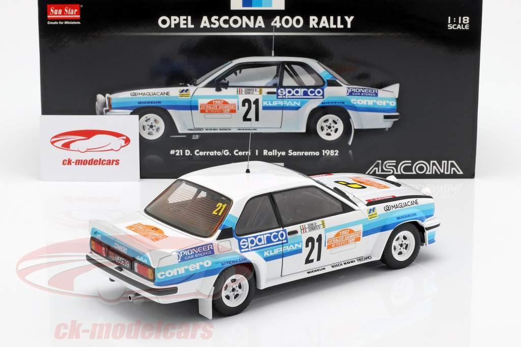 Opel Ascona 400 #21 Rallye San Remo 1982 Cerrato, Cerri 1:18 SunStar