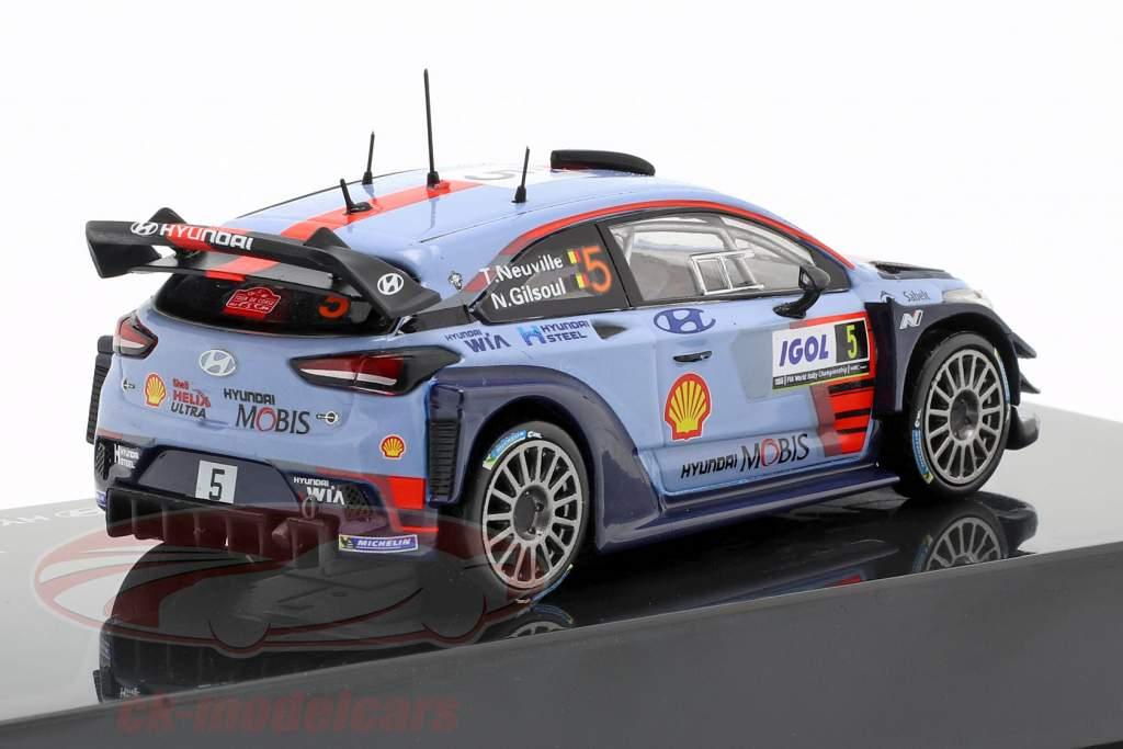 Hyundai i20 Coupe WRC #5 ganador Rallye Tour de Corse 2017 Neuville, Gilsoul 1:43 Ixo