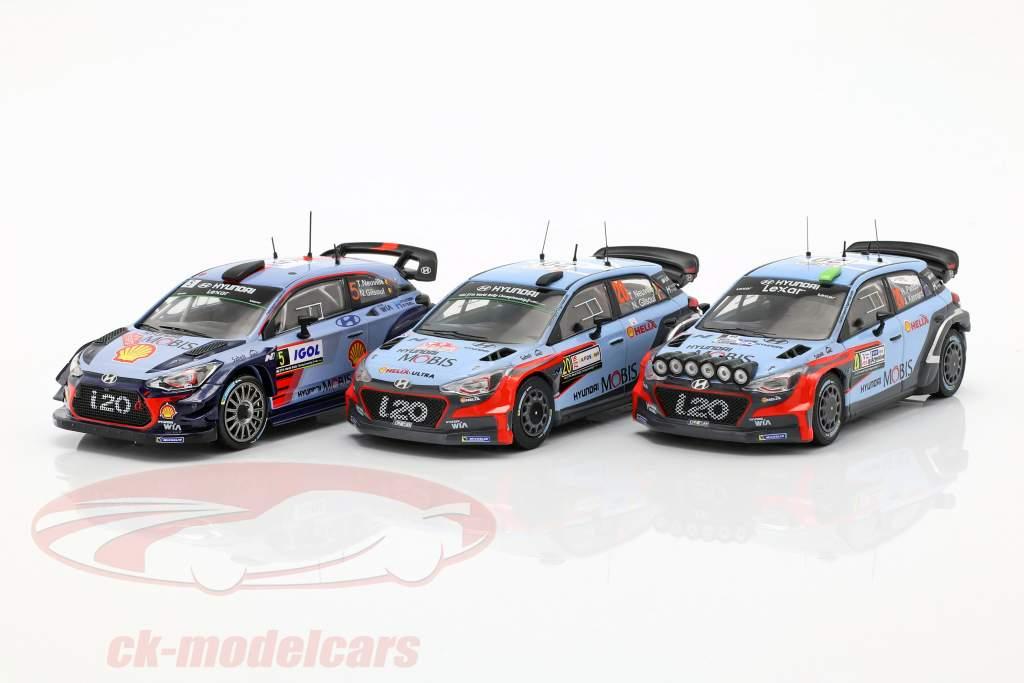 3-Car Rallye Set Hyundai i20 WRC con addizionale accessori 1:43 Ixo