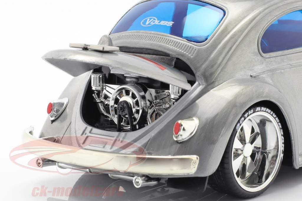 Volkswagen VW Käfer Baujahr 1959 silbergrau / blau 1:24 Jada Toys