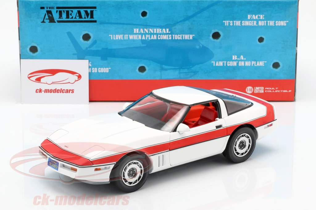 Chevrolet Corvette C4 ano de construção 1984 série de TV o A-Team (1983-87) branco / vermelho 1:18 Greenlight