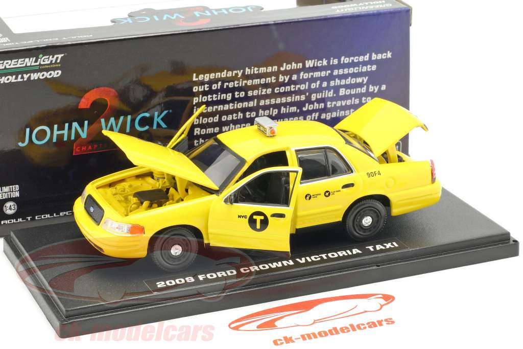 Ford Crown Victoria taxi año de construcción 2008 película John Wick 2 (2017) amarillo 1:43 Greenlight