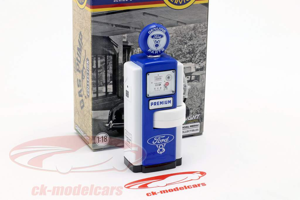gas pumpe Ford Genuine Parts blå / hvid 1:18 Greenlight