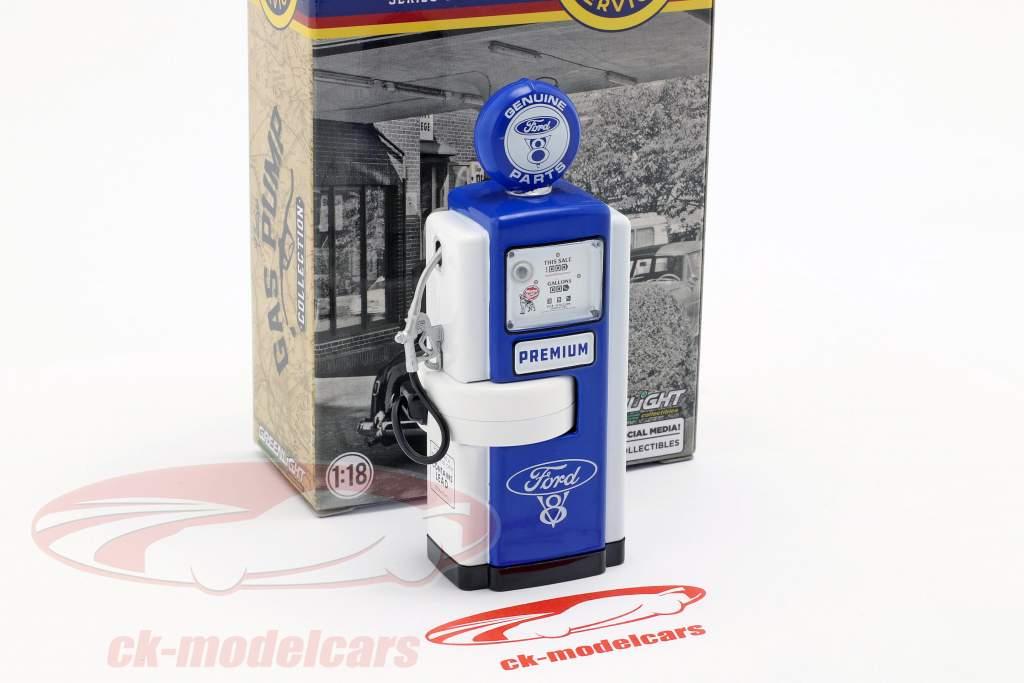 pompa di benzina Ford Genuine Parts blu / bianco 1:18 Greenlight