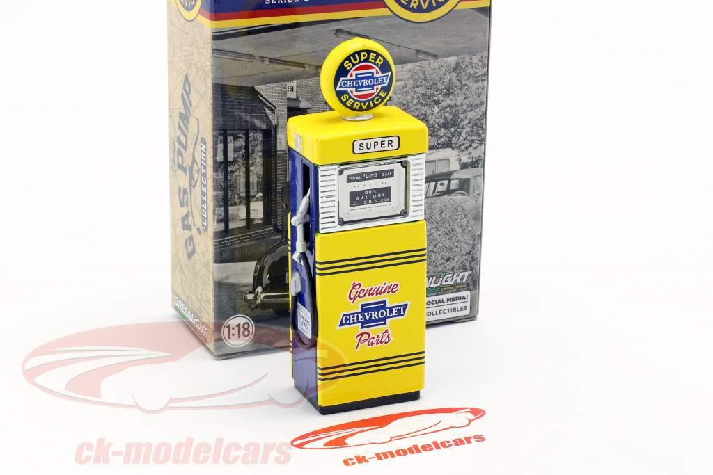 pompa di benzina Super Chevrolet Service giallo / blu 1:18 Greenlight