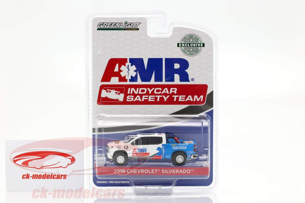 Chevrolet Silverado AMR Safety Team Indycar Series 2019 wit / blauw 1:64 Greenlight