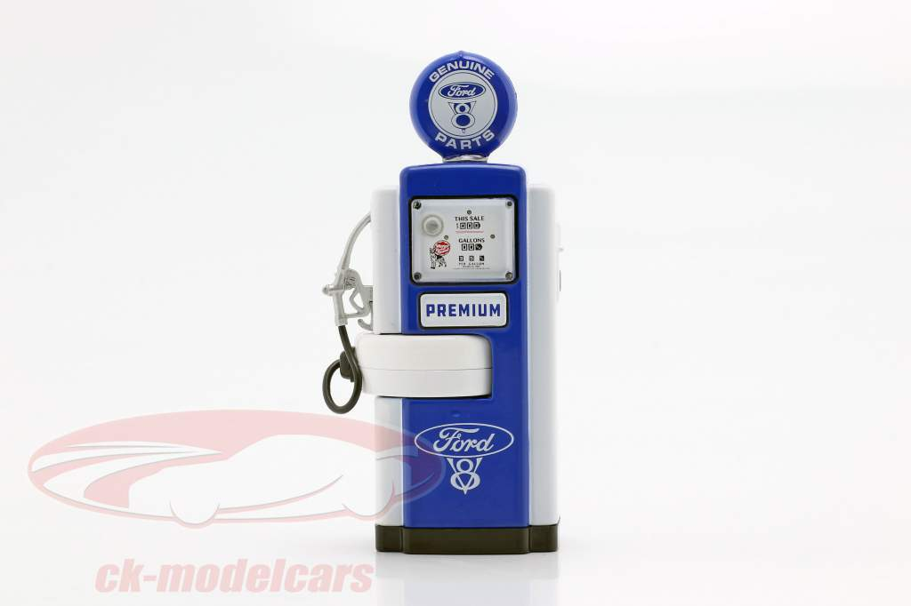 bomba de gás Ford Genuine Parts azul / branco 1:18 Greenlight