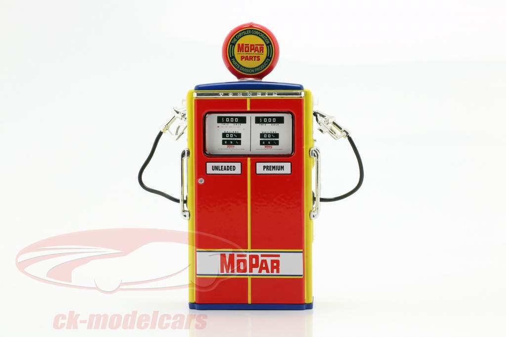 bomba de gás Mopar Parts vermelho / amarelo / azul 1:18 Greenlight