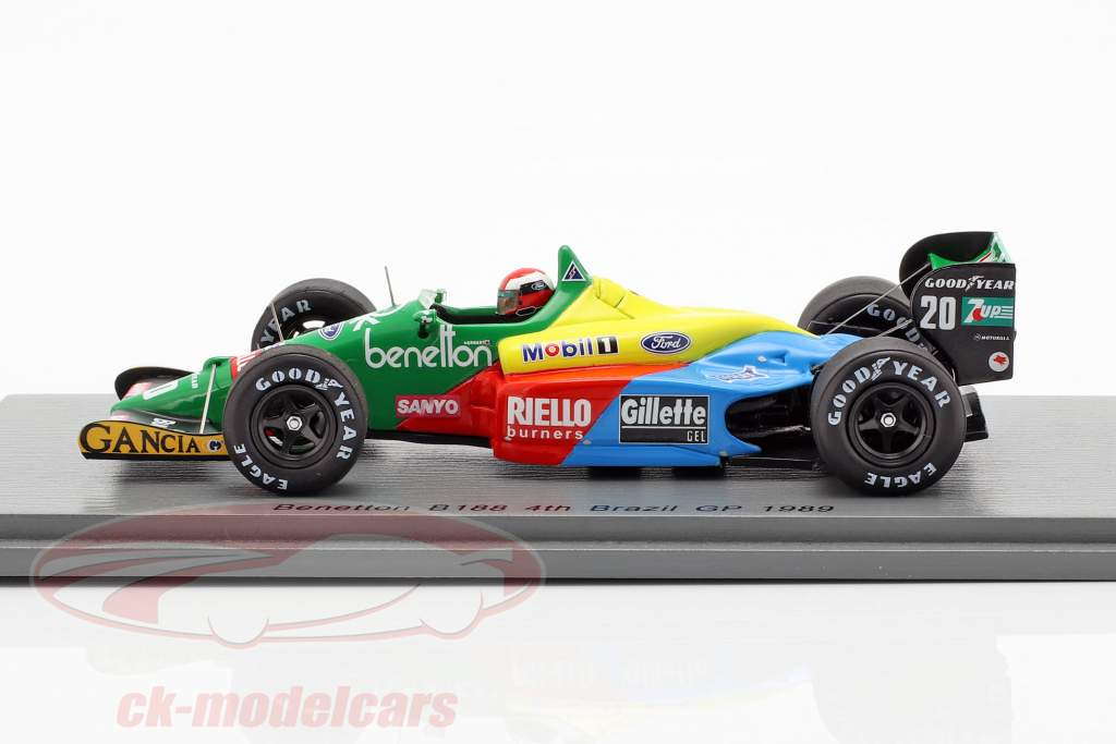 Johnny Herbert Benetton B188 #20 4e Brazilië GP formule 1989 1:43 Spark