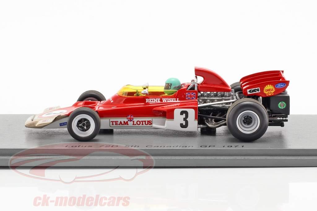 Reine Wisell Lotus 72D #3 5 ° canadese GP formula 1 1971 1:43 Spark