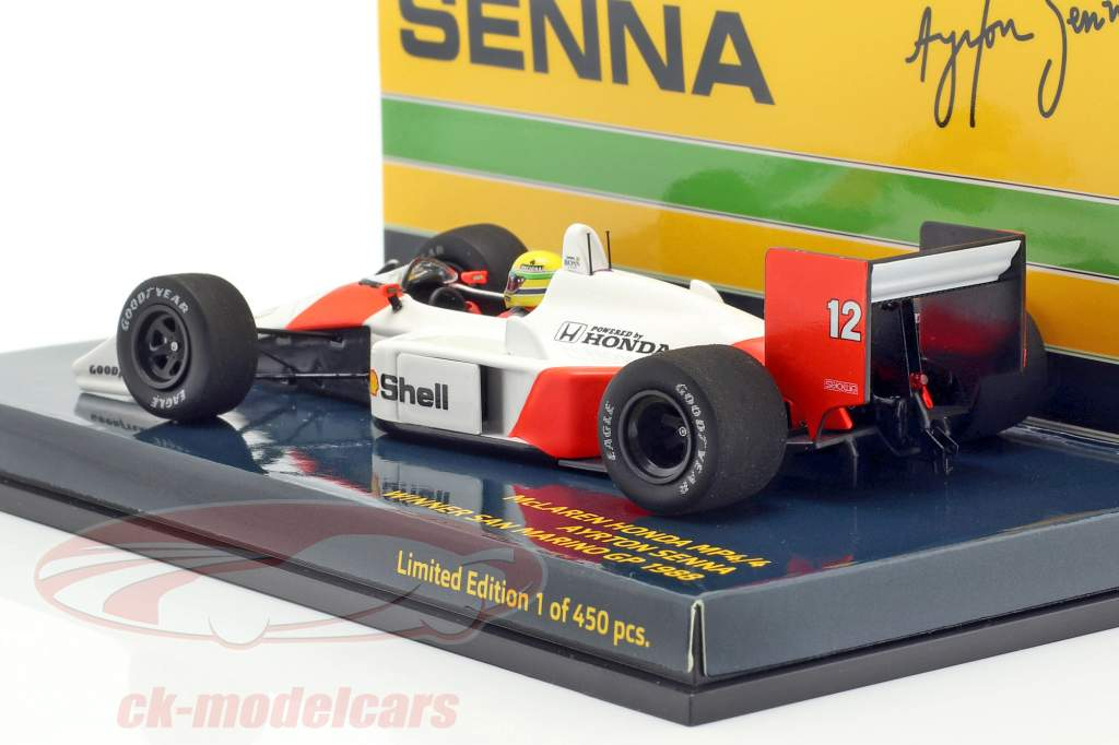 A. Senna McLaren MP4/4 #12 San Marino GP campeão do mundo F1 1988 1:43 Minichamps