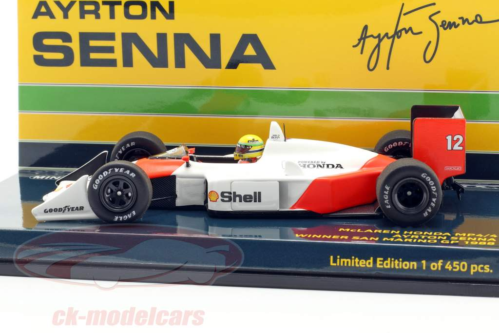 A. Senna McLaren MP4/4 #12 San Marino GP World Champion F1 1988 1:43 Minichamps