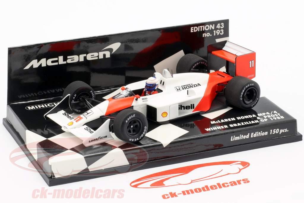 Alain Prost McLaren MP4/4 #11 Winner Brazilian GP formula 1 1988 1:43 Minichamps