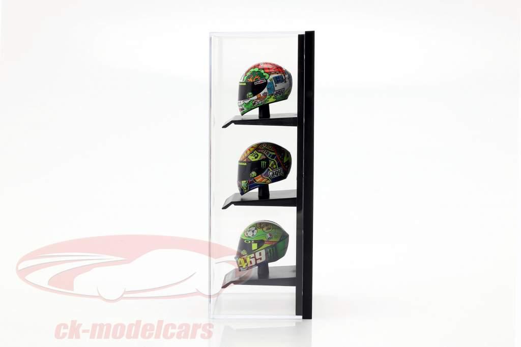 acryl vitrine voor Helmen in schaal 1:10 zwart Minichamps