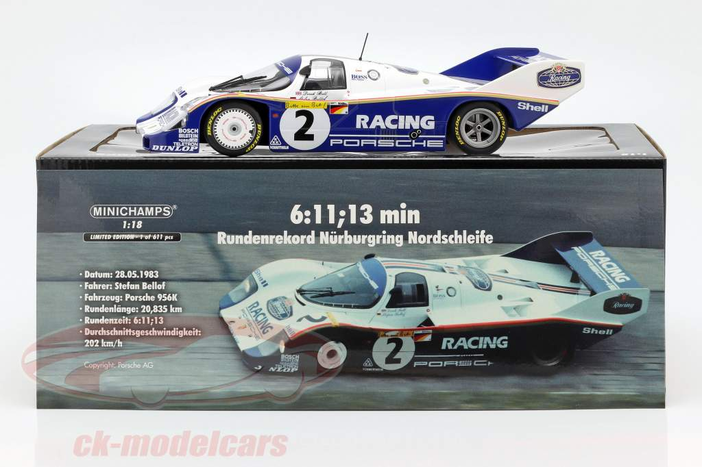 Porsche 956K #2 opnemen lap 1000km Nürburgring 1983 Bellof, Bell 1:18 Minichamps