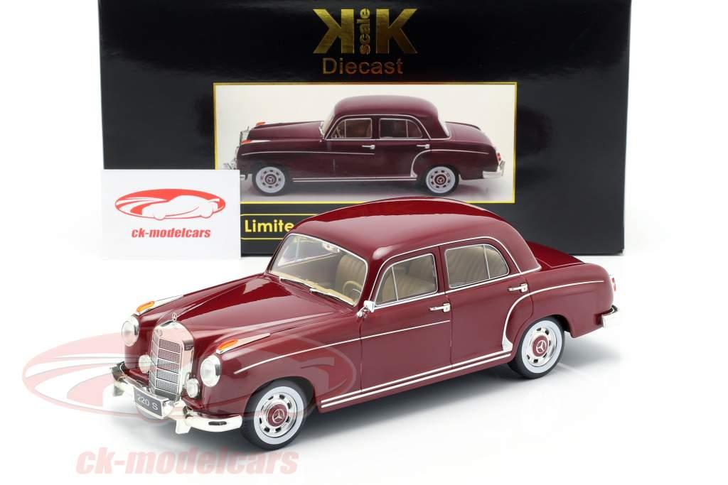 Mercedes-Benz 220 S sedan (W180II) Bouwjaar 1956 donker rood 1:18 KK-Scale