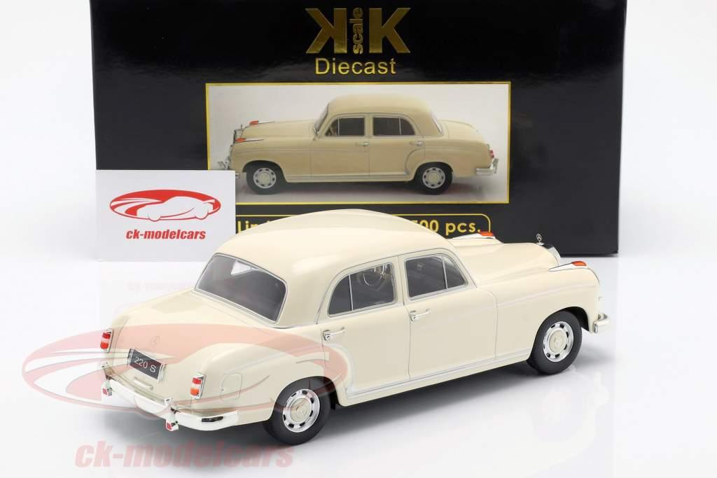 Mercedes-Benz 220 S berlina (W180II) anno di costruzione 1956 crema bianco 1:18 KK-Scale