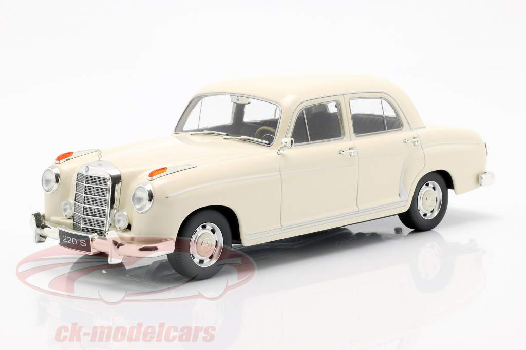 Mercedes-Benz 220 S sedan (W180II) Bouwjaar 1956 crème wit 1:18 KK-Scale