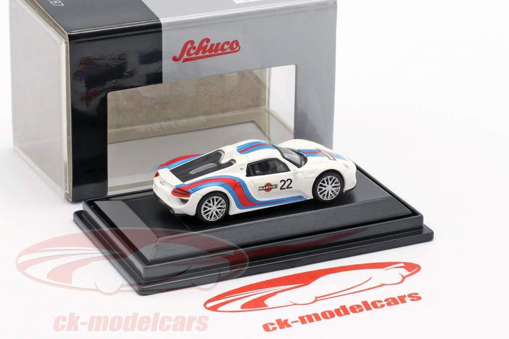 Porsche 918 Spyder #22 Martini Design blanc / bleu / rouge 1:87 Schuco