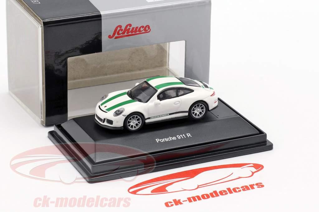 Porsche 911 (991) R Bouwjaar 2016 wit met groen strepen 1:87 Schuco