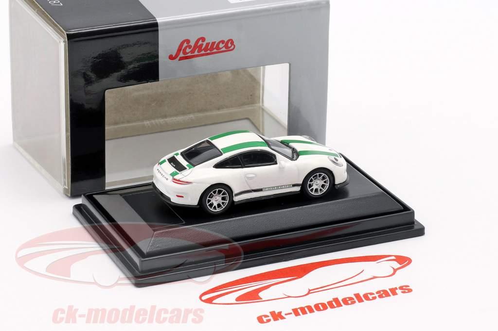 Porsche 911 (991) R year 2016 white with green stripes 1:87 Schuco