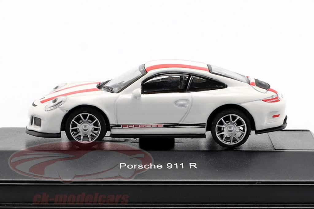 Porsche 911 (991) R anno di costruzione 2016 bianco con rosso strisce 1:87 Schuco