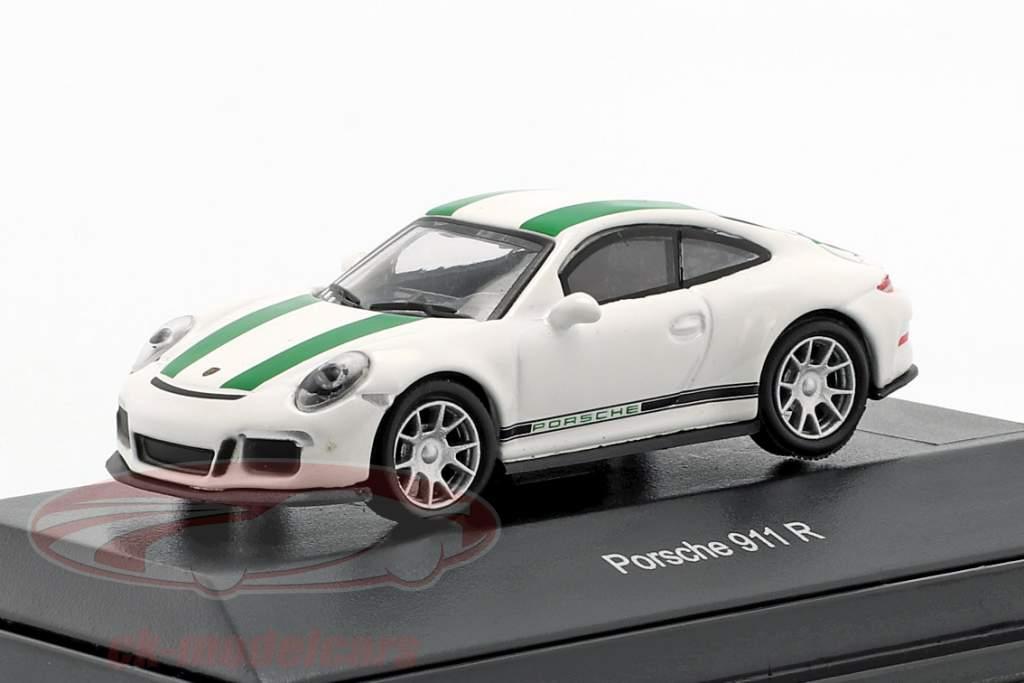 Porsche 911 (991) R Baujahr 2016 weiß mit grünen Streifen1:87 Schuco
