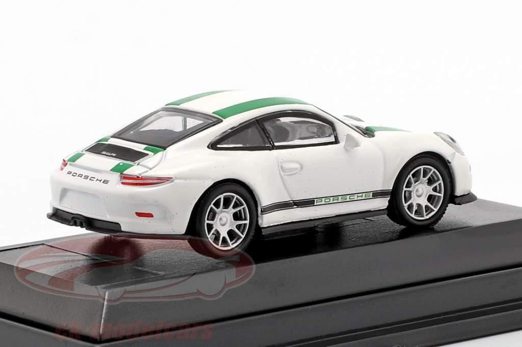 Porsche 911 (991) R année de construction 2016 blanc avec vert rayures 1:87 Schuco