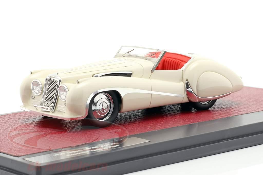 Jaguar SS100 2,5 ltr Roadster Vanden Plas Opførselsår 1939 creme hvid 1:43 Matrix