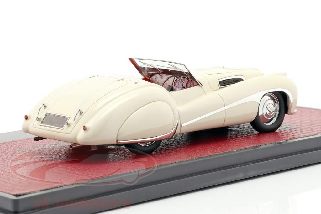 Jaguar SS100 2,5 ltr Roadster Vanden Plas Bouwjaar 1939 crème wit 1:43 Matrix