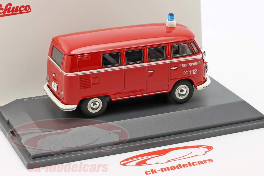 Volkswagen VW T1b autobús departamento de bomberos rojo 1:43 Schuco