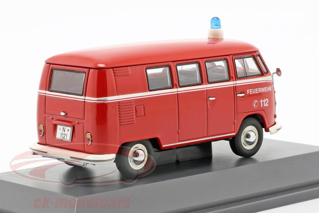 Volkswagen VW T1b bus brandweer rood 1:43 Schuco