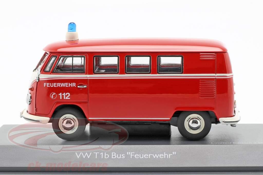 Volkswagen VW T1b ônibus bombeiros vermelho 1:43 Schuco