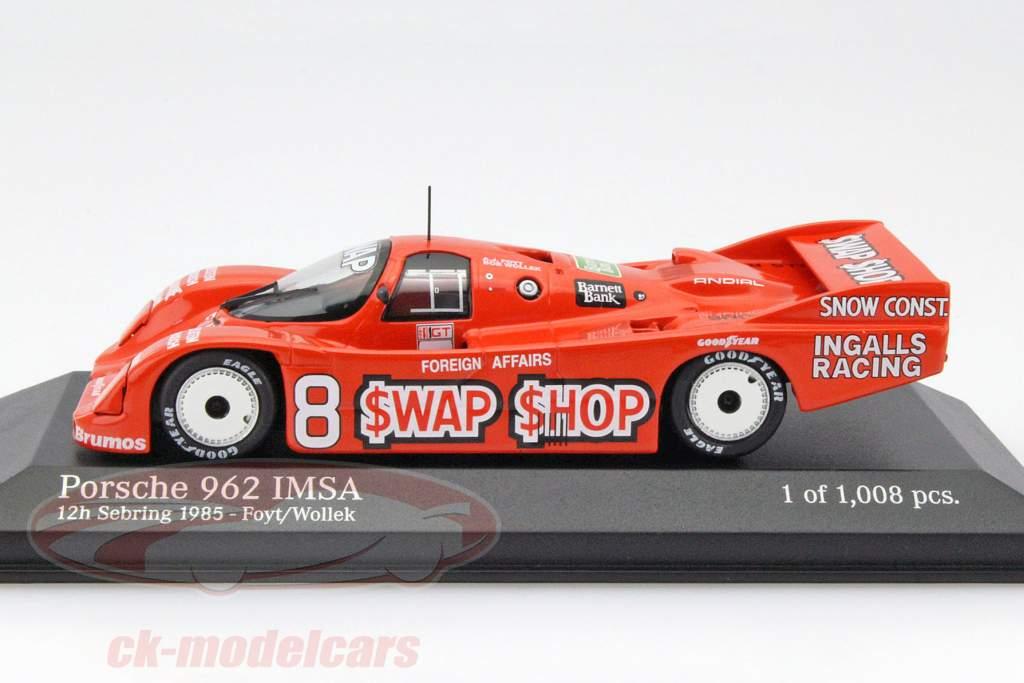 Porsche 962 IMSA #8 Ganador 12h Sebring 1985 Foyt, Wollek 1:43 Minichamps